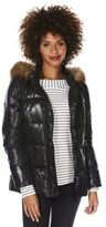 F&F Wet Look Faux Fur Trim Padded Jacket, Women's