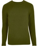 River Island Green Ribbed Panel Slim Fit Jumper