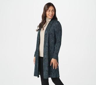 Susan Graver Jacquard Knit Open Front Duster Cardigan