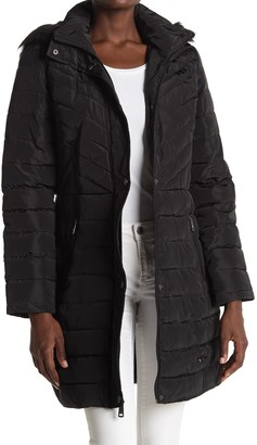 Kenneth Cole New York Faux Fur Trimmed Removable Hooded Satin Quilted Puffer Jacket