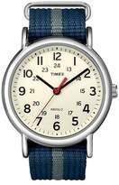 Timex Weekender Slip Thru Nylon Strap Watch with Silvertone Case - Blue/Gray T2N654JT