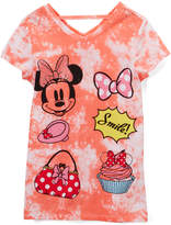 Freeze Minnie Mouse Coral 'Smile!' Cutout V-Neck Tee - Girls