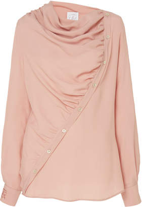 Stella Jean Draped Button-Detailed Crepe Blouse
