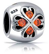 Bling Jewelry Sterling Silver CZ Clover Flower Charm Heart Bead Pandora Compatible