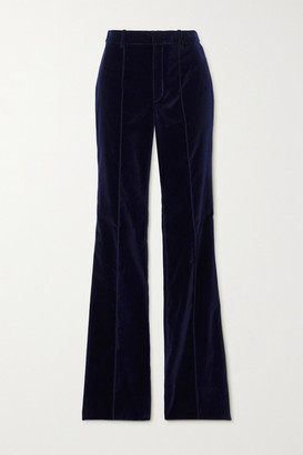 Saint Laurent Velvet Flared Pants - Navy