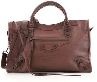 Balenciaga City Classic Studs Bag Lizard Embossed Leather Medium