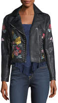 Romeo & Juliet Couture Embroidered Faux-Leather Moto Jacket