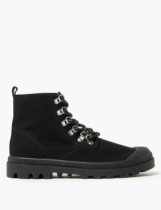 Marks and Spencer Canvas Lace Up Flatform Ankle Boots