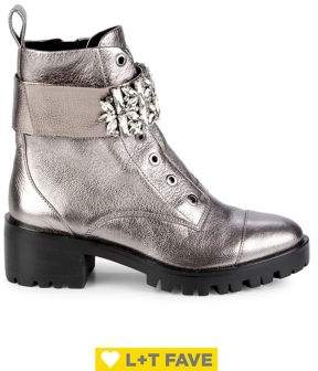 Karl Lagerfeld Paris Pippa Metallic Leather Combat Boots