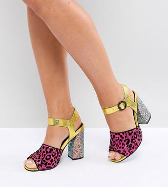 Asos Design HAZARDOUS Wide Fit Embellished Heeled Sandals-Multi