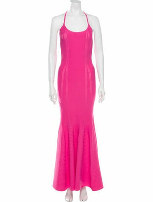 Antonio Berardi Scoop Neck Long Dress Pink