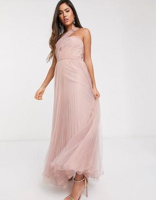 Asos Design DESIGN one shoulder tulle wired hem maxi dress-Pink