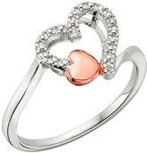 Platina 4 Diamond Accent Double Heart Ring