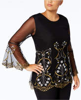Alfani Plus Size Embroidered Bell-Sleeve Tunic, Created for Macy's
