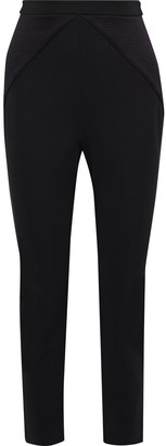 Cushnie Textured Satin-paneled Stretch-knit Skinny Pants