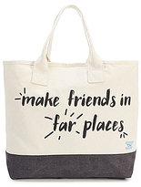 Toms All Day Friends in Far Places Quote Canvas Tote