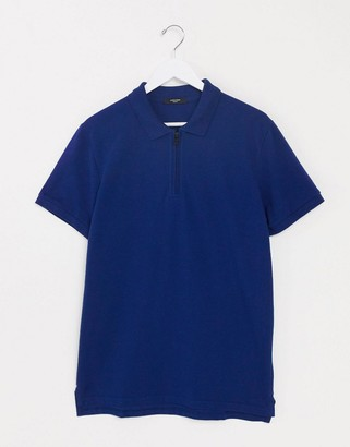 Jack and Jones quarter zip polo shirt in blue