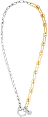 Givenchy Gold and Silver Hexagon Hook Chain Necklace