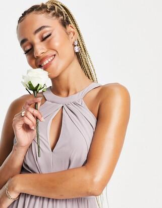TFNC Bridesmaid pleated midi dress in lavender grey