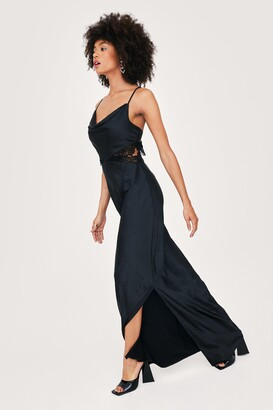 Nasty Gal Womens Bridal Lace Insert Cowl Neck Maxi Dress - Black - 10
