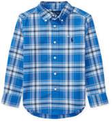 Ralph Lauren Oxford Performance Plaid Dress Shirt, Blue, Size 5-7