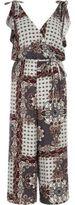 River Island Womens Grey tile print belted culotte jumpsuit