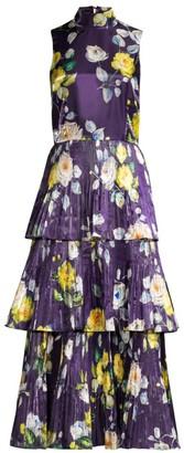 Flor Et. Al Floral Pleated Midi Dress