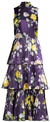 Flor Et. Al Floral Pleated Midi Dress