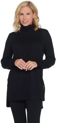 Joan Rivers Classics Collection Joan Rivers Turtleneck Tunic Sweater with Hi-Low Hem