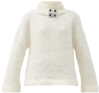 Christopher Kane Crystal-embellished Wool-blend Sweater - Cream