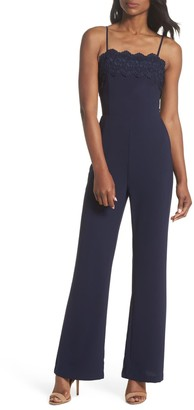 Adelyn Rae Jennifer Lace Trim Jumpsuit