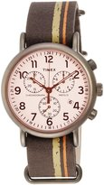 Timex #TW2P78000 Men's Weekender Slip-On Leather Band Dial Chronograph Watch