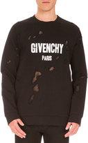 Givenchy Cuban-Fit Destroyed Logo Sweatshirt, Black
