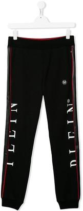 Philipp Plein Junior TEEN logo print track trousers