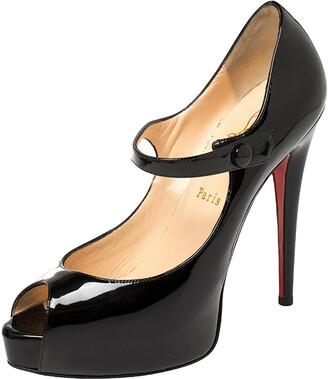 Christian Louboutin Black Patent Leather Mary Jane Peep Toe Pumps Size 38
