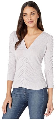 Rebecca Taylor Long Sleeve V-Neck Jersey (Lilac) Women's Clothing