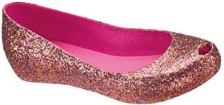 Melissa Pink Glitter Ultragirl II Shoes - 38 - Pink/Gold