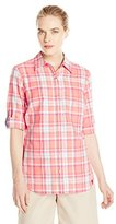 Dickies Women's Quarter Sleeve Roll-up Plaid Shirt