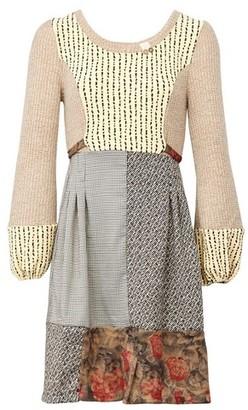 Dorothy Perkins Womens *Izabel London Beige Printed Knitted 2 In 1 Dress, Beige