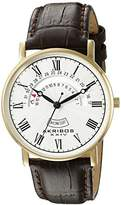 Akribos XXIV Men's AK898YG Round Silver Dial Three-Hand Stainless Steel Watch With Brown Leather Band