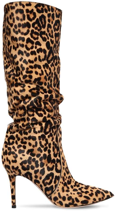 Gianvito Rossi 85mm Leopard Ponyskin Slouchy Boots