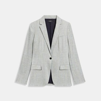 Theory Staple Blazer in Multicolored Stretch Linen