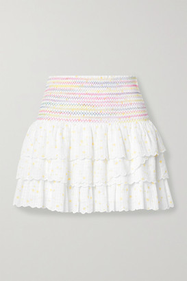 LoveShackFancy Daffodil Smocked Tiered Printed Cotton-voile Mini Skirt - White