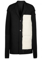 Rick Owens Black Appliquéd Wool Blend Coat