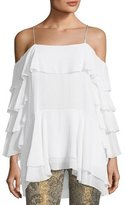 Alice + Olivia Lexia Lyrd Cold-Shoulder Ruffled Chiffon Blouse