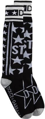 Dolce & Gabbana Star-Intarsia Logo Socks