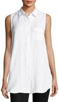 Joan Vass Linen-Blend Button-Front Shirt, White