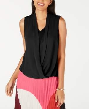 Alfani Petite Sleeveless Draped-Front Top, Created for Macy's