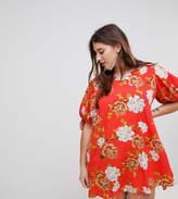 AX Paris Plus Floral Tie Sleeve Shift Dress