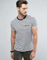 Jack Wills Camberwell Stripe Slim Fit Pocket T-Shirt in White
